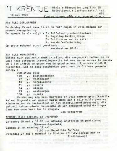 Oirlo's dorpsblad 't Krèntje 1972-05-19