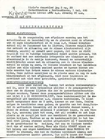 Oirlo's dorpsblad 't Krèntje 1974-05-22