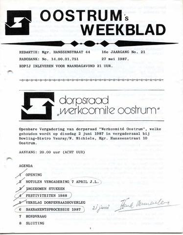 Oostrum's Weekblad 1987-05-27