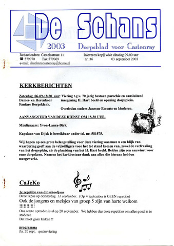Castenrays dorpsblad De Schans 2003-09-03