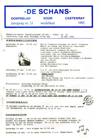 Castenrays dorpsblad De Schans 1992-05-22
