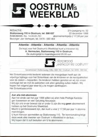Oostrum's Weekblad 1998-12-22