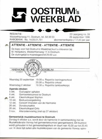Oostrum's Weekblad 1996-09-26