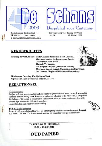 Castenrays dorpsblad De Schans 2003-02-19