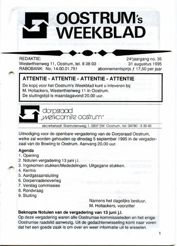 Oostrum's Weekblad 1995-08-31