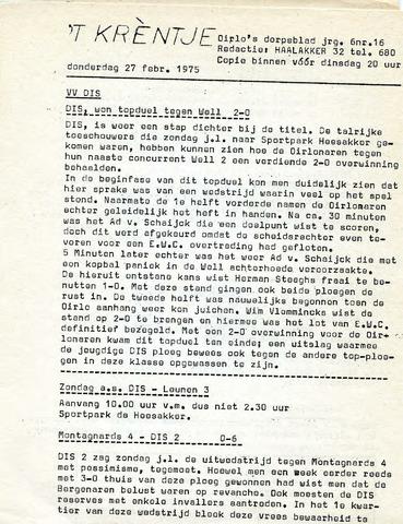 Oirlo's dorpsblad 't Krèntje 1975-02-27