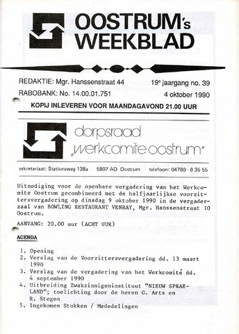 Oostrum's Weekblad 1990-10-04