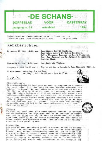 Castenrays dorpsblad De Schans 1994-06-24
