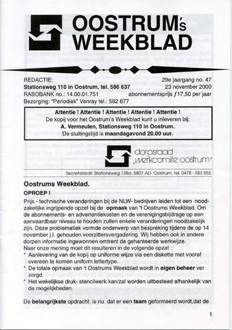 Oostrum's Weekblad 2000-11-23