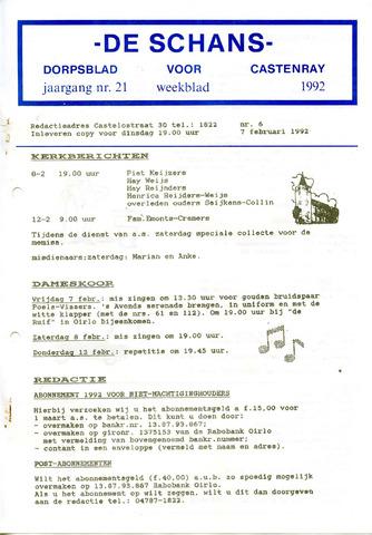 Castenrays dorpsblad De Schans 1992-02-07