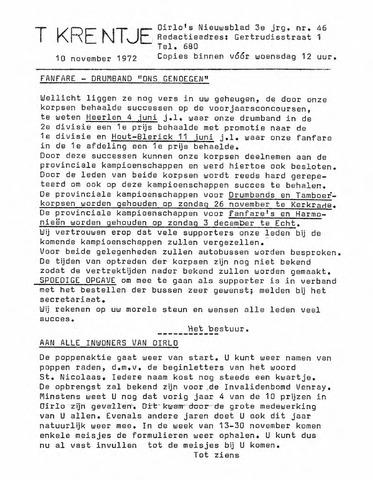Oirlo's dorpsblad 't Krèntje 1972-11-10