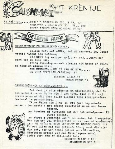 Oirlo's dorpsblad 't Krèntje 1975-02-06