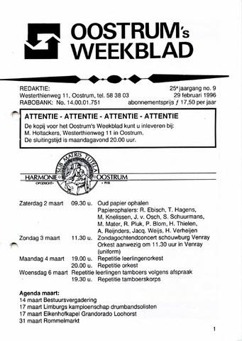 Oostrum's Weekblad 1996-02-29