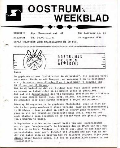 Oostrum's Weekblad 1986-08-14