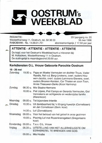 Oostrum's Weekblad 1996-05-16