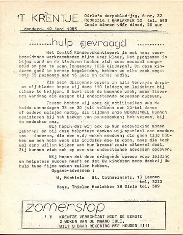 Oirlo's dorpsblad 't Krèntje 1975-06-19