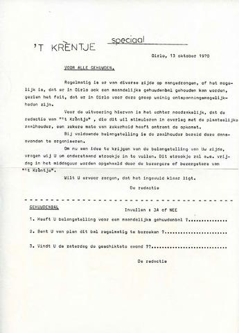 Oirlo's dorpsblad 't Krèntje 1970-10-13