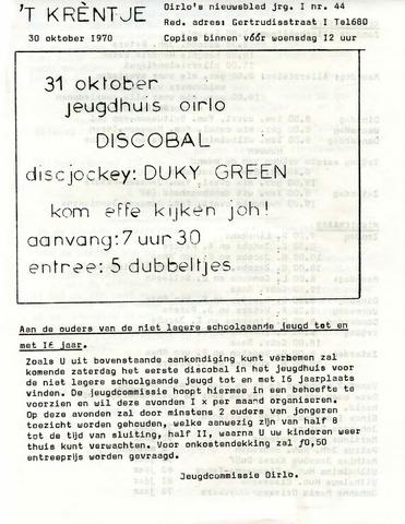 Oirlo's dorpsblad 't Krèntje 1970-10-30