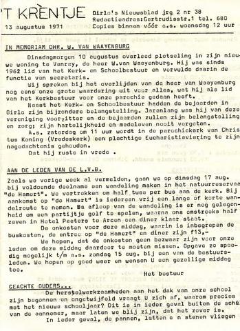 Oirlo's dorpsblad 't Krèntje 1971-08-13