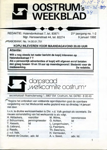 Oostrum's Weekblad 1992