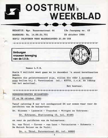 Oostrum's Weekblad 1984-10-25