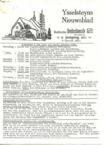 Ysselsteyns Nieuwsblad 1981-10-09
