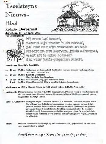 Ysselsteyns Nieuwsblad 2003-04-25