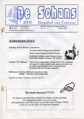 Castenrays dorpsblad De Schans 2003-04-23