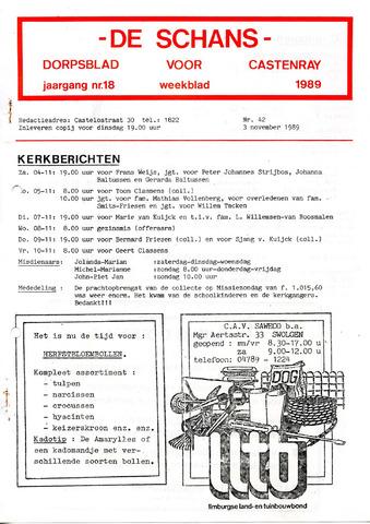 Castenrays dorpsblad De Schans 1989-11-03