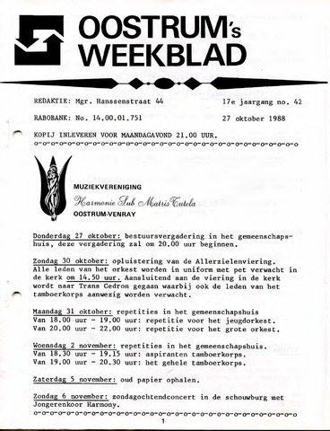 Oostrum's Weekblad 1988-10-27
