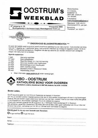 Oostrum's Weekblad 2003-08-14