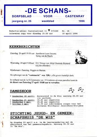 Castenrays dorpsblad De Schans 1996-04-18