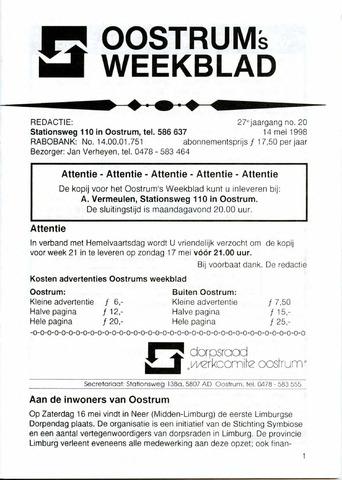 Oostrum's Weekblad 1998-05-14