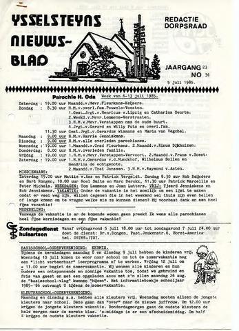 Ysselsteyns Nieuwsblad 1985-07-05