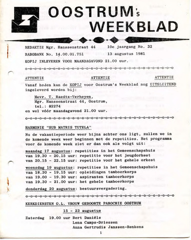 Oostrum's Weekblad 1981-08-13