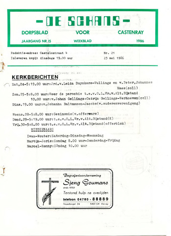 Castenrays dorpsblad De Schans 1986-05-23