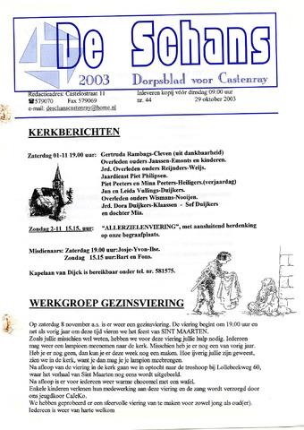 Castenrays dorpsblad De Schans 2003-10-29