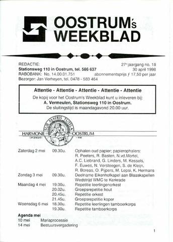 Oostrum's Weekblad 1998-04-30