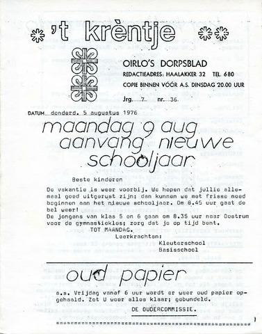 Oirlo's dorpsblad 't Krèntje 1976-08-05