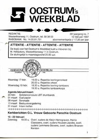 Oostrum's Weekblad 1997-02-13