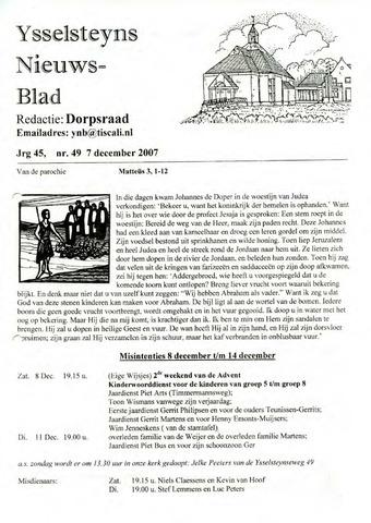 Ysselsteyns Nieuwsblad 2007-12-07