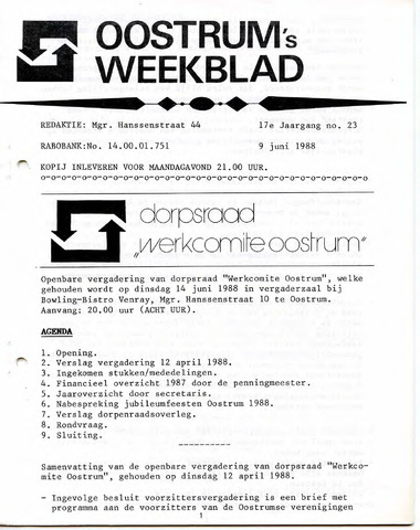 Oostrum's Weekblad 1988-06-09