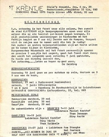 Oirlo's dorpsblad 't Krèntje 1975-05-29