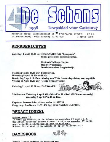 Castenrays dorpsblad De Schans 1998-04-02