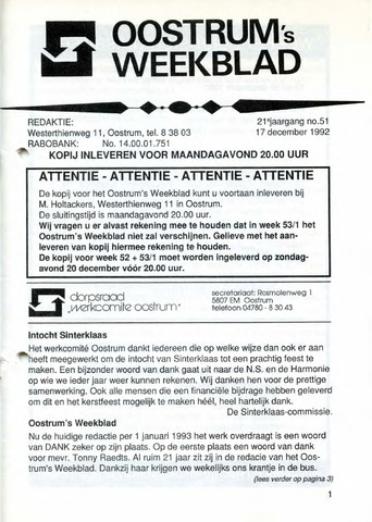 Oostrum's Weekblad 1992-12-17