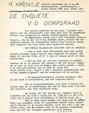 Oirlo's dorpsblad 't Krèntje 1974-09-12