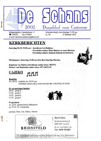 Castenrays dorpsblad De Schans 2002-02-27