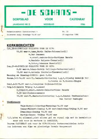 Castenrays dorpsblad De Schans 1986-08-29