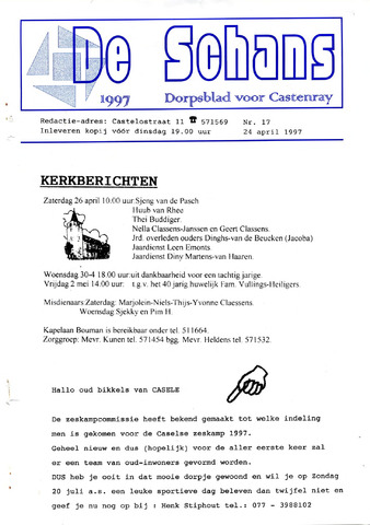 Castenrays dorpsblad De Schans 1997-04-24