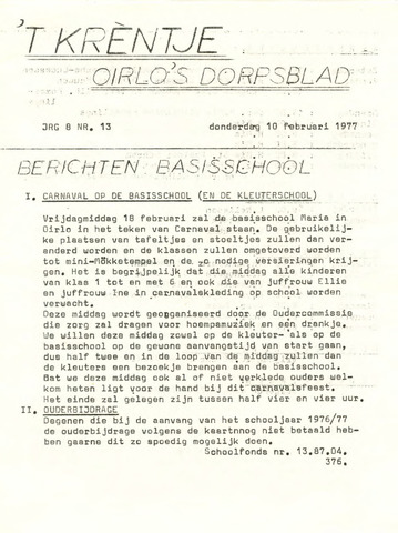 Oirlo's dorpsblad 't Krèntje 1977-02-10